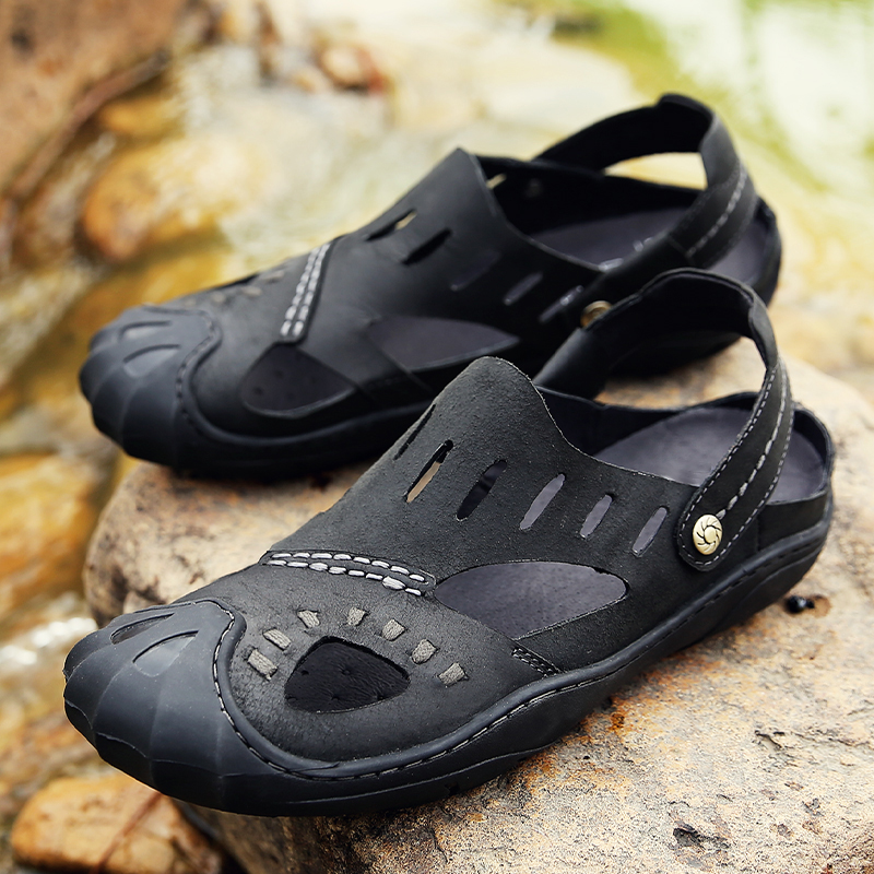 ФОТО Plus Size 38-44 Men Sandals Genuine Leather Fashion Summer Shoes Men Slippers Breathable Men's Sandals Causal Shoes Leather