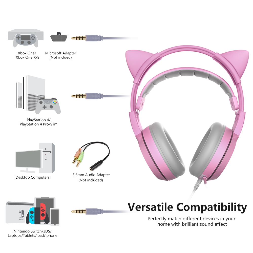 SOMIC G951s PS4 Pink Cat Ear Noise Cancelling Headphones 3 5mm Plug Girl  Kids Gaming Headset with Microphone for Phone