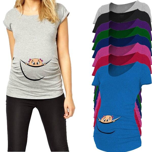 """2018 नई डिज़ाइन """"बेबी आउट पीकिंग"""" कैजुअल मैटरनिटी शर्ट प्रागंण महिलाओं के लिए विशेष आकार प्लस XXL"""