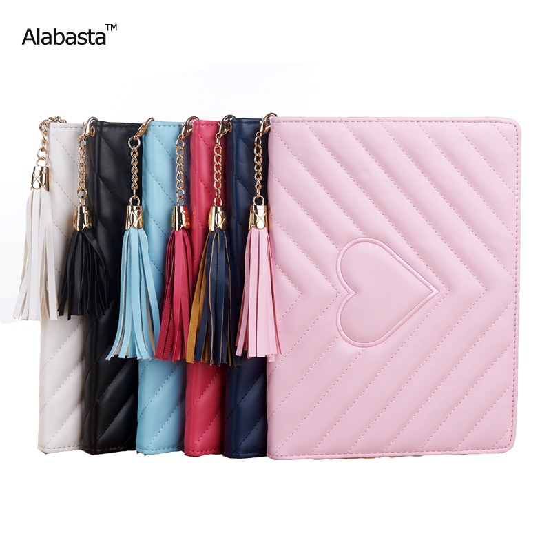 Alabasta Case for iPad mini 1 2 3 Capa PU Leather Surface Shield Rhinestone Bag Tablet Case Luxury Grid Tassels With stylus case for ipad air1 alabasta pu leather