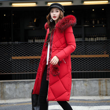 2018 Year Fashion Parkas For Female Long Coat of Cotton Clothes With Pockets Women Warm Thick Coat Black C