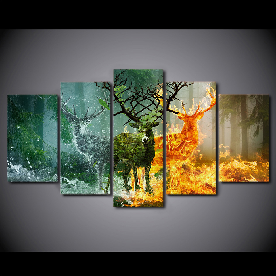 5 Panel HD Printed Nature Forest Deer Wall Art Pictures ...