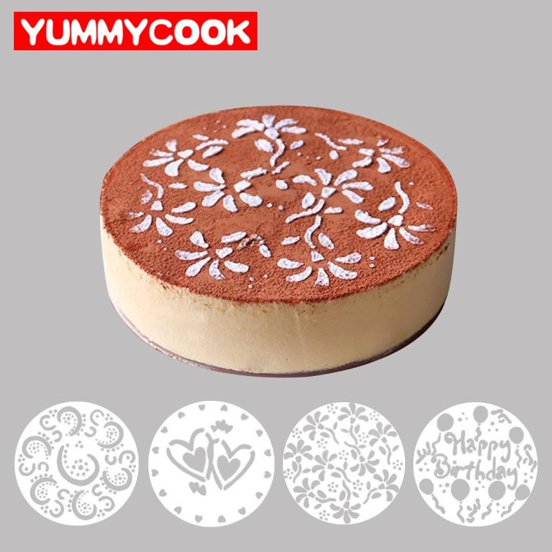 4 Unids/lote Cake Stencils Arte Latte Molde de Impresión de la Decoración de La