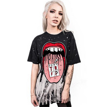2017 Summer Women's Clothing Tops Tees Big mouth Digital print movement Pleasantly cool Loose leisure O-Neck Long T-Shirts