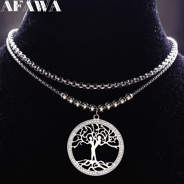 030aa4fc6514 2018 moda Árbol de la vida cristal collar de acero inoxidable mujeres niño  y niña plata