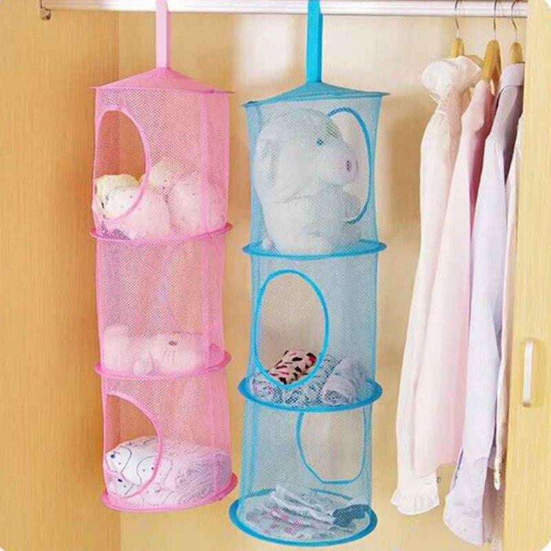 3 Shelf Hanging Storage Net Make Up Organizer Bag Bedroom Door Wall Closet Makeup Box Organizers Free Shipping
