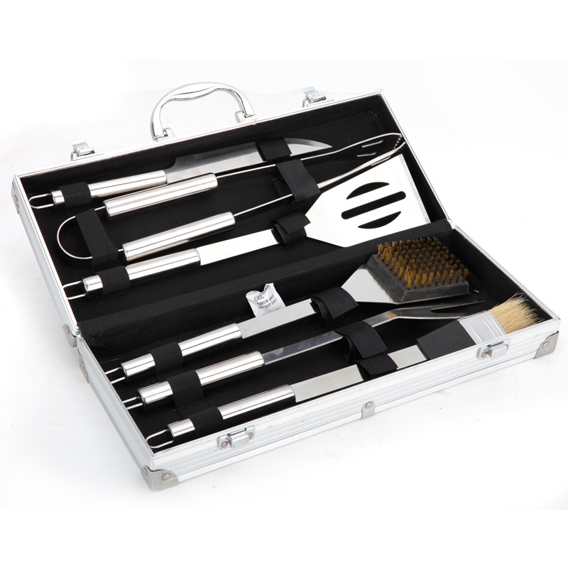 6pcs Stainless Steel BBQ Tool Set Barbecue Cooking Tools Kit with Metal Storage Box Case MYDING