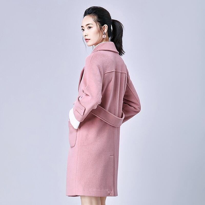 Femminile Rosa Cappotti Abrigos Ayunsue Giacca Gray Coreano A Kj303 Cappotto Donne Lunghi Lana Delle Vento Mujer Invierno Pink 2018 Di qInCw4R