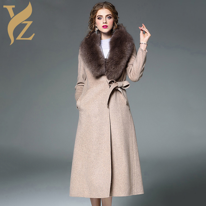 X-long Women Winter Jackets With Warm Real Fox Fur Coat Top Selling Woollen Clothes With Detachable Fox Fur Collar Fashion 2018