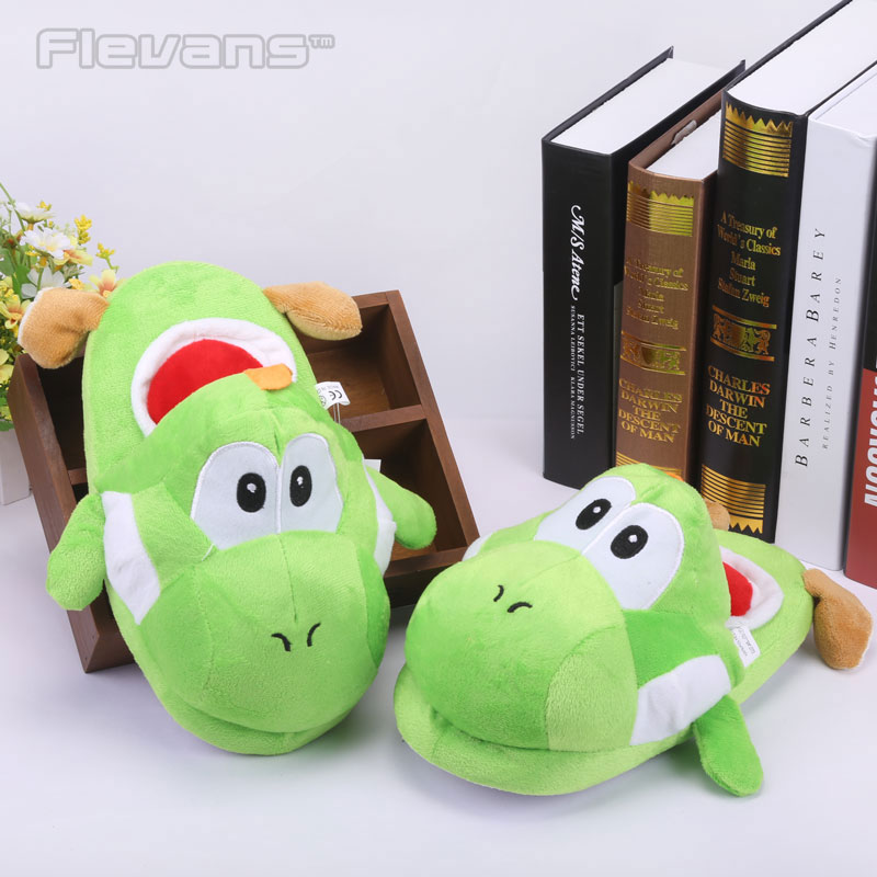 Super Mario Brother Dragon Yoshi Soft Toys Winter Men Women Cotton Indoor Warm Slippers Home Plush Shoes 13 34cm super mario bros standing green yoshi dragon plush dolls soft yoshi peluche toys kids gifts free shipping