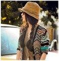Kesebi 2017 Nueva Caliente de La Manera Mujeres Del Verano Del Resorte Del Arco Iris Patrón de Tejer Sombreros de Sol Playa Femenino Sun Protect Sombrero Informal