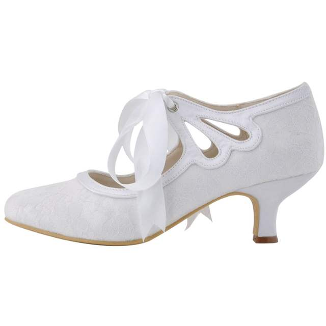 placeholder New D-HC1521 Ivory White Women Girl Mary Jane shoes Ribbon  Champagne Comfortable Mid Heel 7c009e3369ca