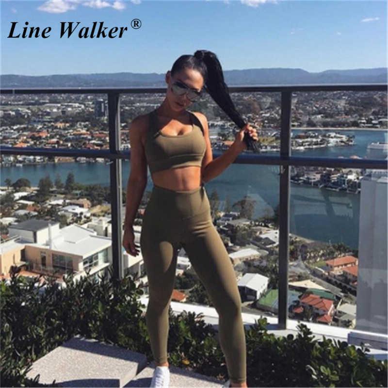 Линия Walker армейский зеленый эластичный спортивный костюм для женщин тренировки Спортивный Женский тренажерный зал боди для йоги одежда Топ для занятий спортом с леггинсами