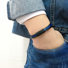 SF198-blue rope leather rope chain handmade genuine wrap sporty leather bracelet for women bracelet men wristband bangle unisex