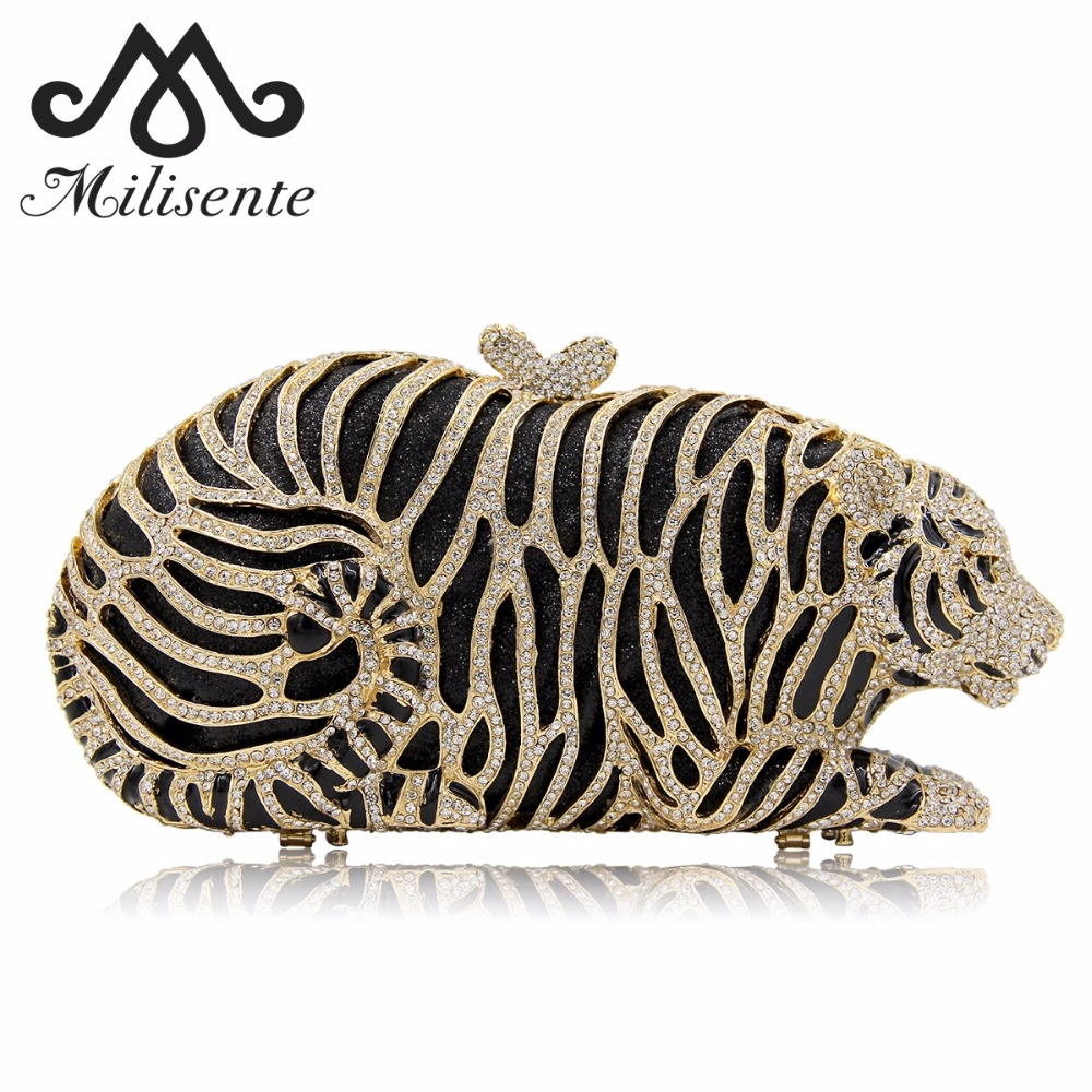 Milisente Women Evening Bags Ladies Tiger Shape Crystal Clutch Bag Female Gold Clutches Purses milisente women luxury rhinestone clutch evening handbag ladies crystal wedding purses dinner party bag gold