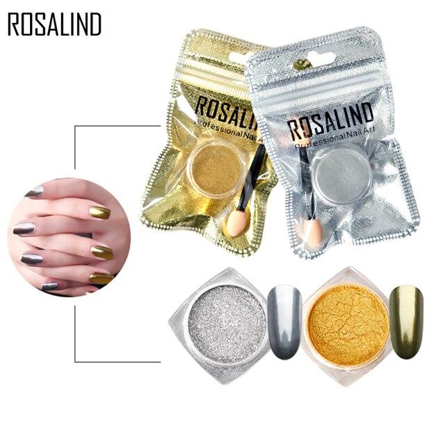 ROSALIND brillo de uñas oro/lentejuelas de plata polvo de espejo mágico con palo de esponja DIY pigmento manicura uñas arte brillos