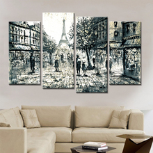 Drop Shipping 4 Panels Canvas Art Wall Pictures For Living Room Hand Painted Paris Street Decorative