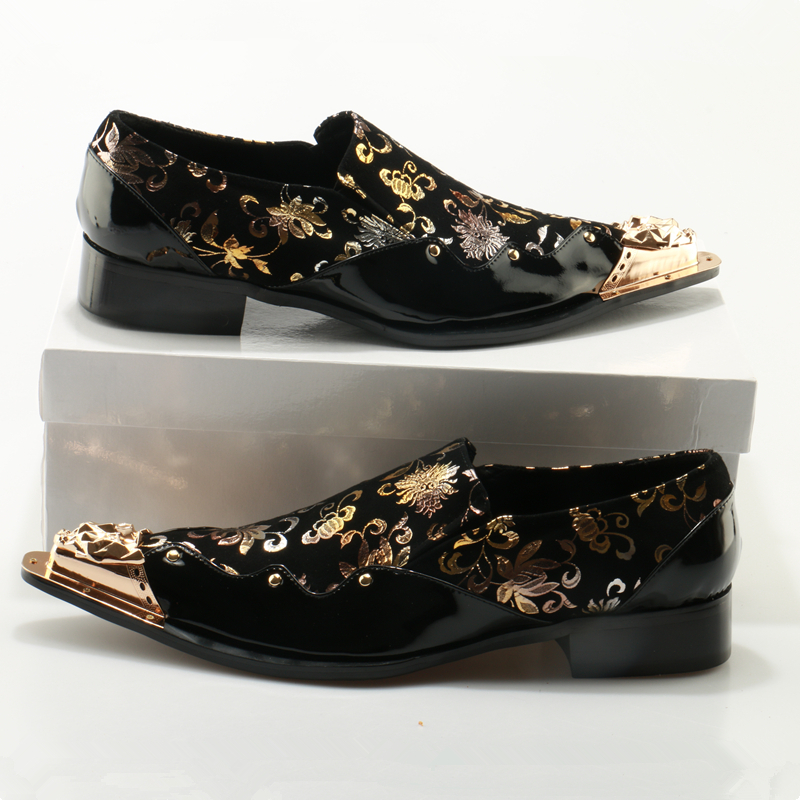 70873dfa96 zobairou Black Mens Dress Shoes Loafers Metallic Toe Glitter Men Shoes  Leather Gold Floral Print Italian Wedding Shoes Man-in Formal Shoes from  Shoes on ...