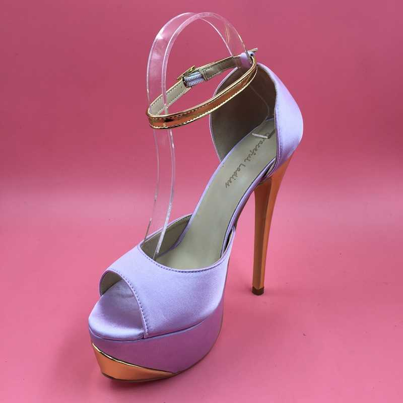 499a531b35 ... Lilac Satin Women Pumps Platform Heels Peep Toe Ankle Strap Size 13  High Heels Sexy Heels ...