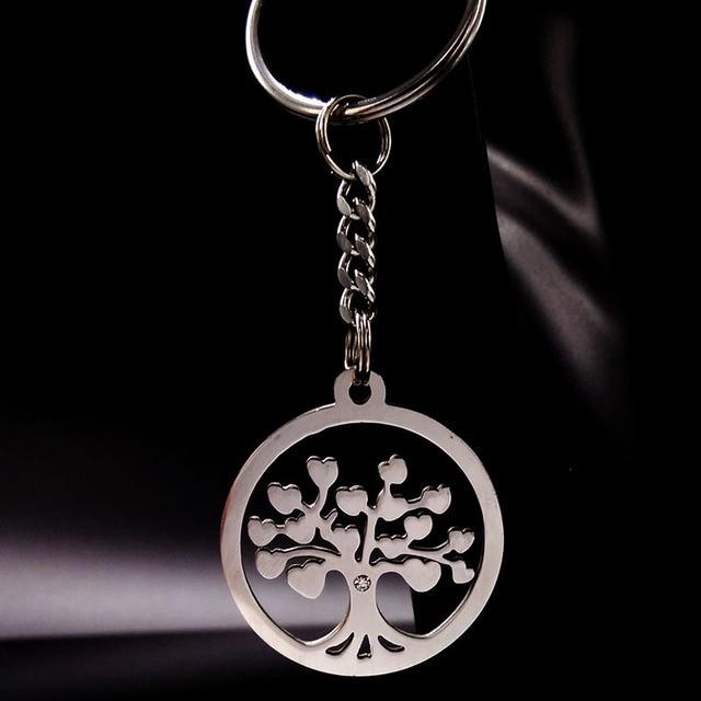 10 pièces arbre de vie couleur argent en acier inoxydable porte-clés porte-clés pour femme ou hommes amour arbre porte-clés bijoux en gros WK4