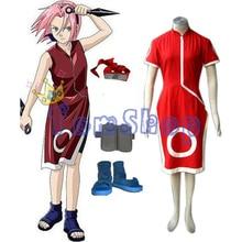 Японские аниме наруто харуно сакура первый полный комбинированный cosplay равномерное костюм костюмы (dress + шорты + повязка + ниндзя обувь + сумка)