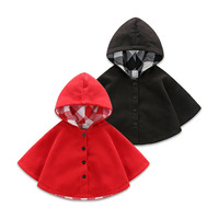 Autumn and winter baby woollen cloth cape wind cape boy and girl go out to dress red cape coat