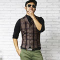 Gilet men Single Breasted vest casual lapel waistcoat men Plaid woolen Formal suit vest Slim waistcoat chalecos Hombre 2016 New