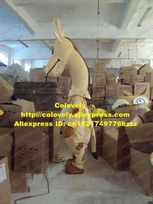 Hidup Khaki Jerapah Rusa Kostum Maskot Mascotte Giraffa Camelopardalis Cameleopard dengan Mulut Besar Coklat Kuku No 2056 Kapal Gratis