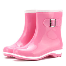 Surfcasting Rain Shoes Woman Warm Tube Solid Color Non Slip Jelly Snow Water Shoes Ladies Rain Boots Waterproof Shoe(China)