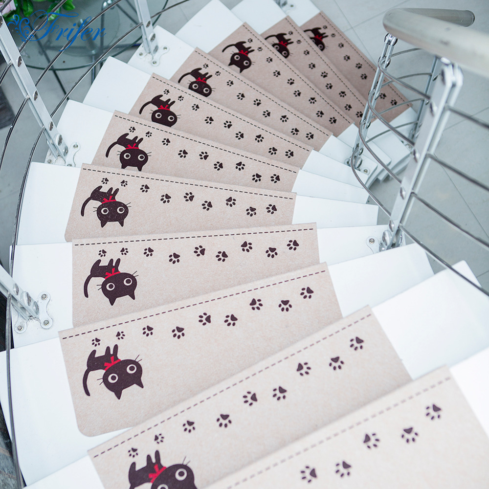5pcs/set Staircase Mat Luminous Cartoon Cat Self-adhesive Non-slip Floor Carpet Children ...