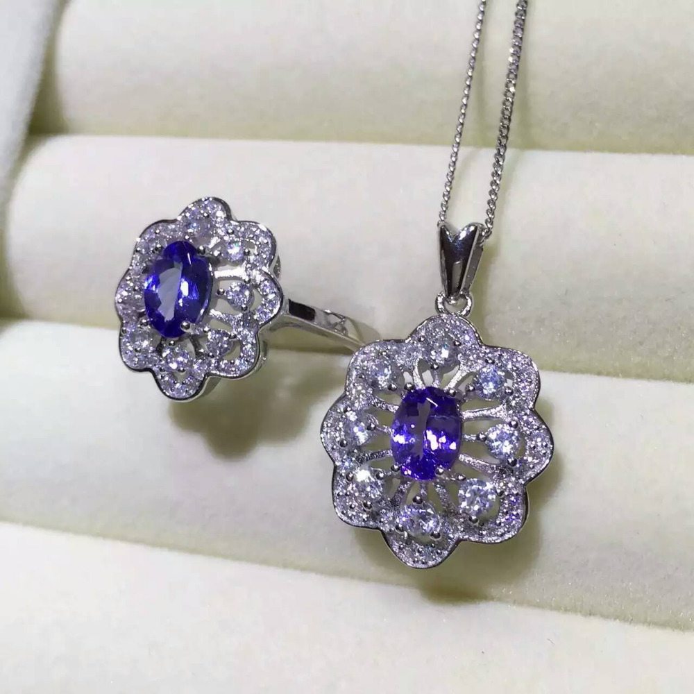 Natural blue tanzanite gem jewelry sets natural gemstone Pendant ring 925 silver luxurious snowflake Flower women fine jewelry