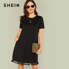 SHEIN Tassel Hem Side Pocket Tee Dress Women Summer Dress 2019 Pocket Fringe Shift Solid H Type Tunic Short Sleeve Dresses(China)