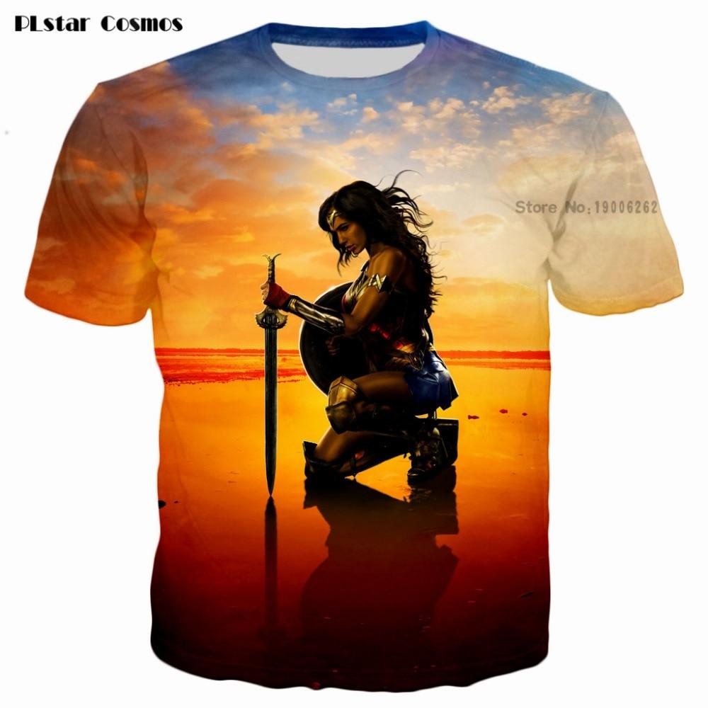 Plstar cosmos superhero movie wonder woman t-shirts diana prince 3d print men women fashion t shirt 2017 summer style t shirt-0