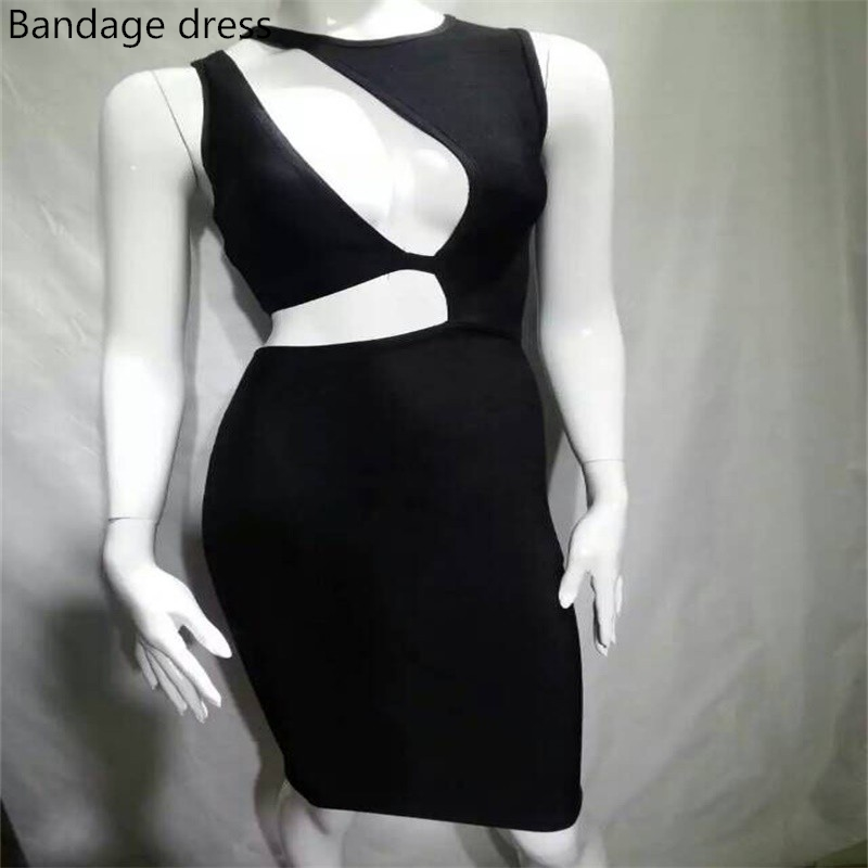 2017 novos inverno mulheres bodycon bandage dress party dress preto oco para fora na altura do joelho sexy lady runway dress