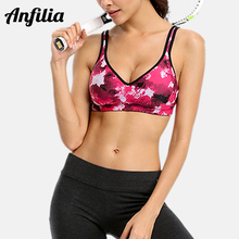 Anfilia Womens Mid Impact Sports Bra Support Yoga Breathable Running Workout Top Fitness Underwear