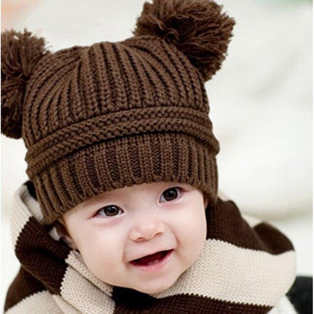 Fashion Brand Autunno Inverno Lavorato A Maglia Neonato Cappello Del  Crochet Del Bambino Delle Ragazze Dei a7be06be7005