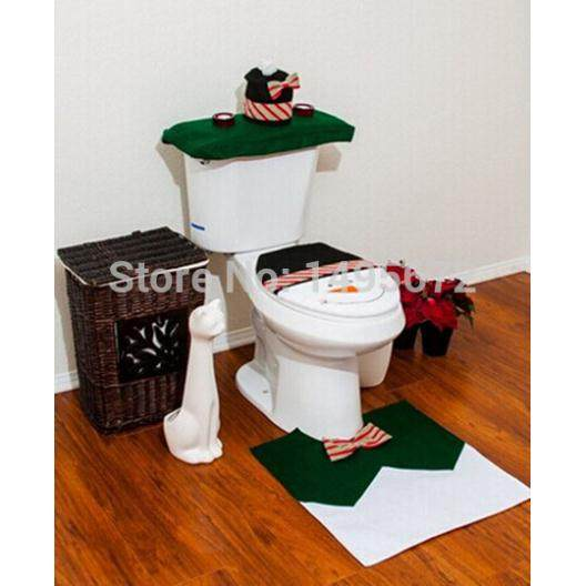 4pcsset christmas decorations happy green snow man toilet seat coverrug bathroom settissue box christmas decorations supplies