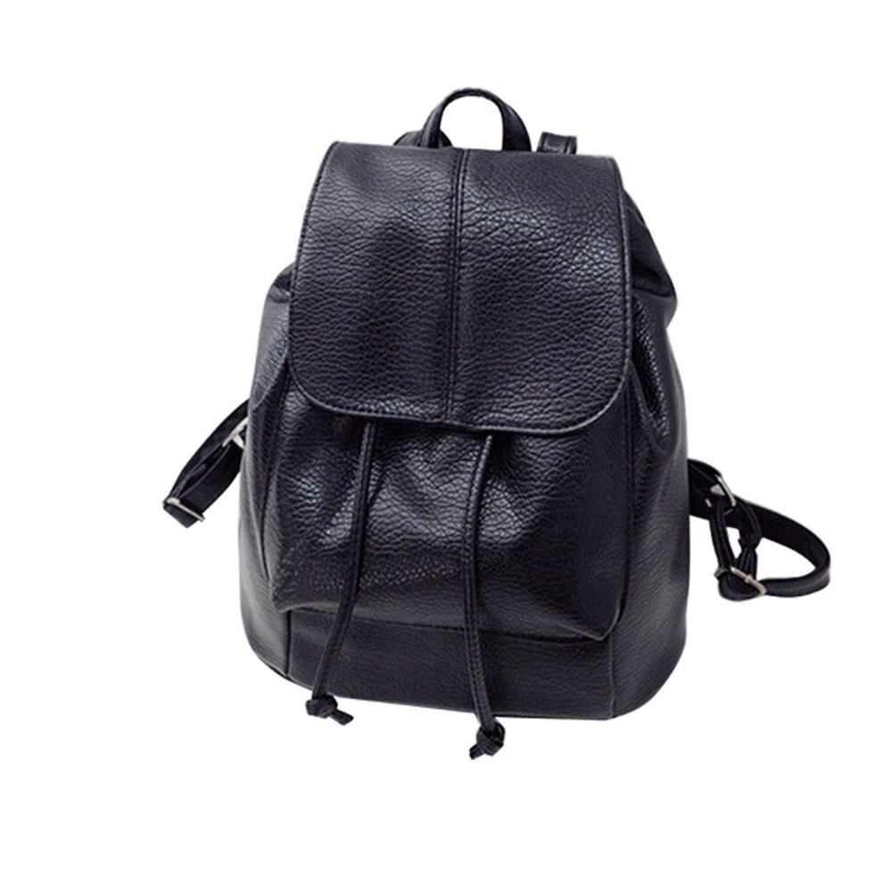 High Quality Black Leather Backpack Women Korean Drawstring Shoulder Bags Ladies Elegant Travel Satchel Rucksack Bag Mochila #Z