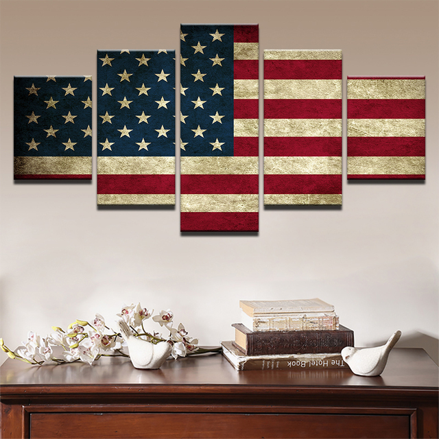 ... Rustic American Flag Painting Modern Canvas Hd Prints Poster Wall Art  Pictures Framework 5 Pieces