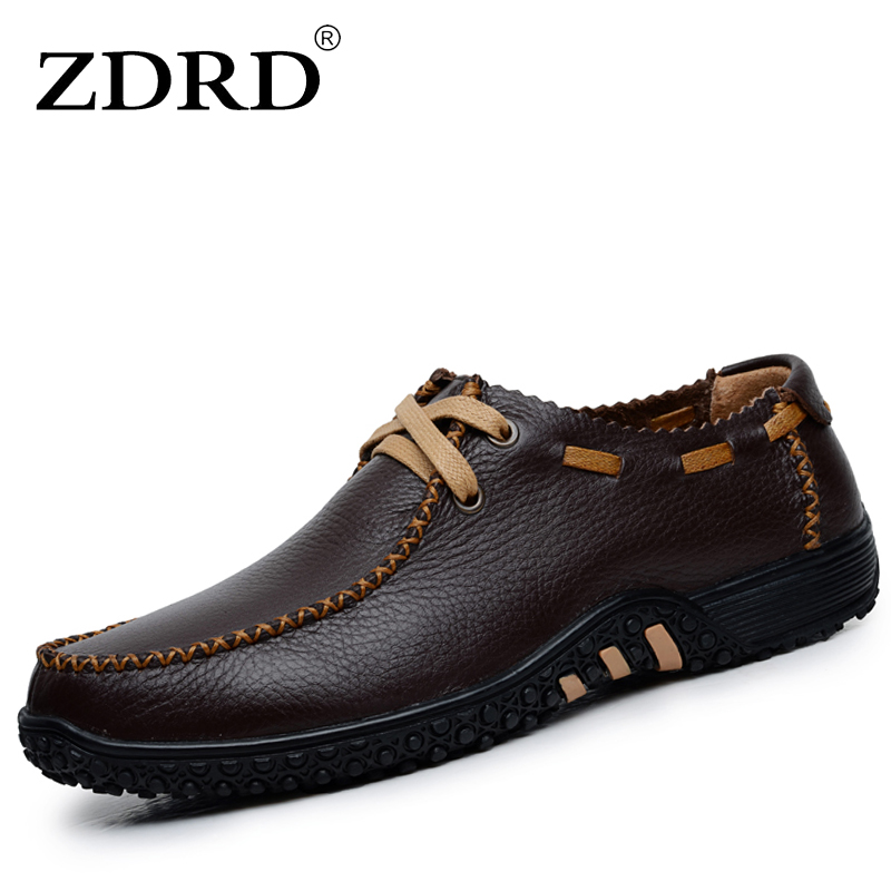 ZDRD  New Arrival Men Shoes Fashion Lace-Up Bullock England Style Men Oxfords Shoes Black Casual Flats Full Grain Leather Shoes