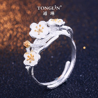 Real 925 Sterling Silver Vintage Ring 2019 Fashion Jewelry Plum blossom Flowers Rings for Women dropshipping