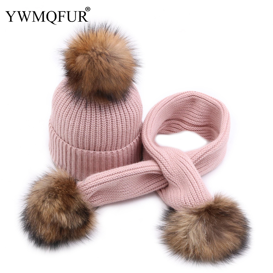 2018 Winter Vintage Knit Kids Hat Scarf Set With Real Raccoon Fur Ball Baby Warm 1 To 3 Years Old Children Beanies Caps Scarves