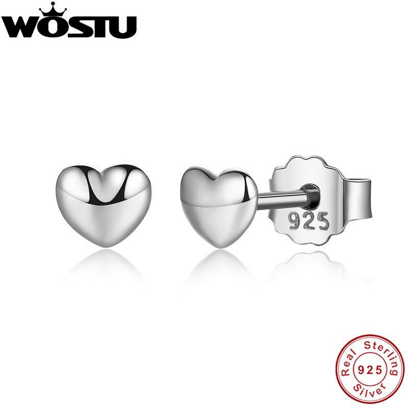 WOSTU marque véritable 100% 925 argent Sterling Petite boucles d'oreilles coeurs pour les femmes authentique Original bijoux cadeau XCHS441