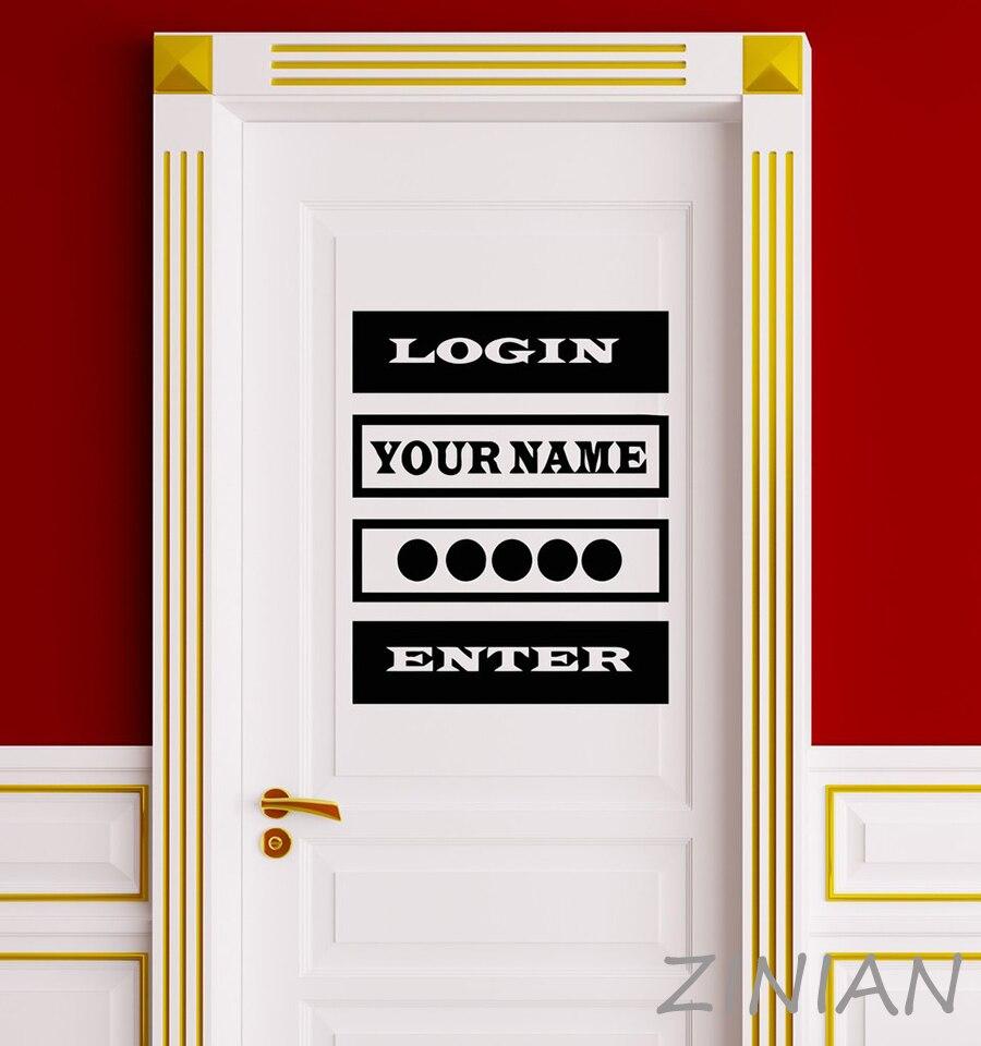Vinyl Decal Sticker Quote Login Password Video Game Computer Door Stickers Teens Boys Bedroom Playroom Decoration Murals Z556
