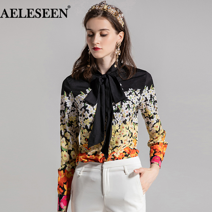 AELESEEN Women Luxury Plus Size Shirts 2018 Fashion Top Quality Long Sleeves Contrast Color Floral Print