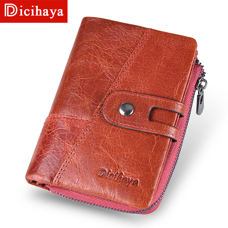 DICIHAYA 2019 New Style Genuine Cowhide Leather Women Medium Paragraph Buckle Wallet Womens High Quality Coin Purse