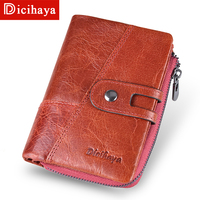 140384880 DICIHAYA 2019 New Style Genuine Cowhide Leather Women Medium Paragraph  Buckle Leather Wallet Women S High