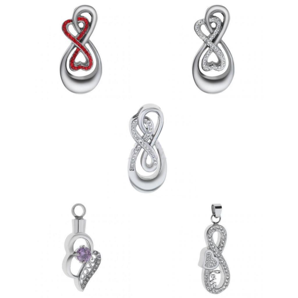 Silver Stainless Steel With Rhinestone Crystal Heart Love