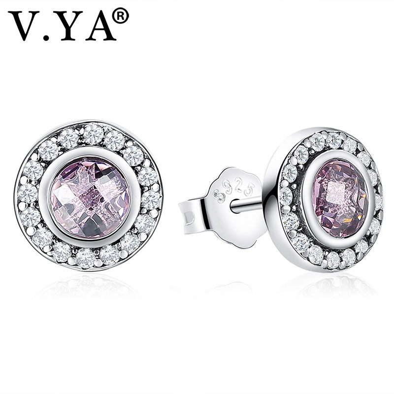 V.YA 100% 925 Sterling Silver Earrings Womans Legacy Stud Earrings With Pink Purple CZ Womens Classic Jewelry Accessory