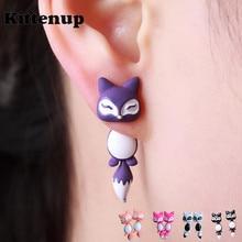 Kittenup New Fashion Yellow Purple Black Animal Cute Fox Stud font b Earrings b font For